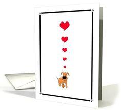 Cartoon Puppy Dog & Hearts, Adore You, Romantic Flirty card, Paper Greeting Card (1065593)