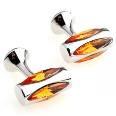 Romance Orange Crystal Round Cufflinks