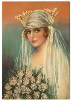 ANTIQUE 1930S PEARL HILL FLAPPER BRIDE SOPHISTICATED VEILED BEAUTY PIN UP PRINT | eBay