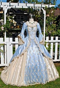 MARIE ANTOINETTE GOWN    This listing is for a custom gown in your size and color and fabric choice! We can use 2 colors of fabric, or all one