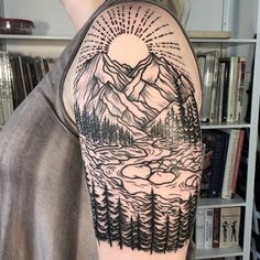 if i was bold enough to get a sleeve it would be something naturally beautiful Tattoo Artists Near Me, Famous Tattoo Artists, Female Tattoo Artists, Nature Tattoos, Body Art Tattoos, Tatoos, Mountain Sleeve Tattoo, Tattoos For Women Half Sleeve, Nature Tattoo Sleeve Women