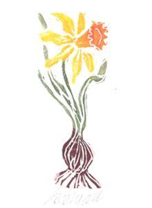 daffodil  original block print