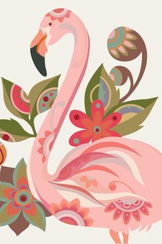 The Flamingo Graphic Art on Wrapped Canvas