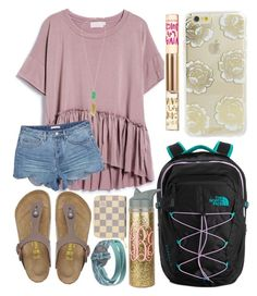 """""""School outfit"""" by jadenriley21 on Polyvore featuring Chaco, Birkenstock, The North Face, Kendra Scott, Louis Vuitton, Sonix and Juicy Couture"""