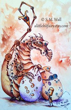 Steampunk Dragon Egg and Robot by Sarah Wall