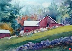 Nelson Farm - Sterling, MA by Yvonne Hemingway, Watercolor, 12 x 16 Watercolor Flowers Tutorial, Watercolor Bird, Watercolor Paintings, Watercolors, Landscape Art, Landscape Paintings, Landscapes, City Farm, Fashion Painting