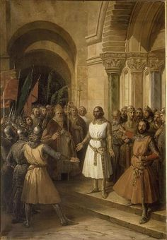 Godfrey of Bouillon chosen as leader by the barons in Jerusalem.