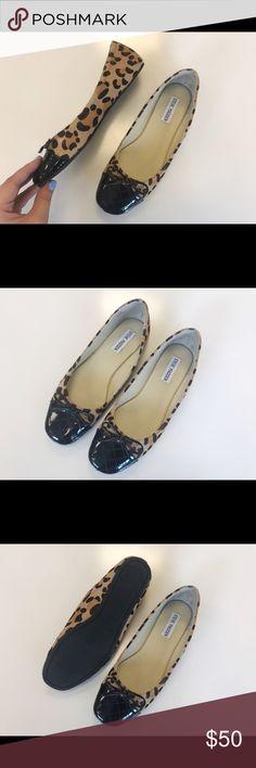 Steve Madden Brown Calf-Hair Leopard Print Flats Steve Madden brown calf-hair leopard print ballet flats, retail $90, Size 7 Steve Madden Shoes Flats & Loafers