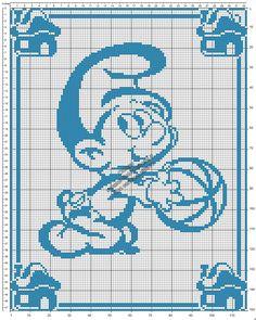 Schema gratis filet uncinetto copertina neonato con Baby Puffo 117x150
