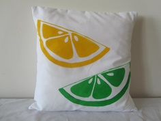 Citrus lemon and lime slices retro yellow and green pillow cover #handmade by @CoutureChicness, $40.00 on @Etsy - from Australia!