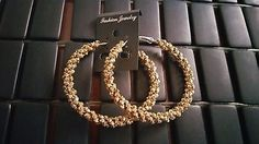 Gokd Chunky Textured Beautiful Hoop Circle Round Dangle Fashion Earrings