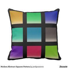 Motif abstrait moderne de carrés oreillers