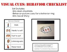 This set includes: Mini Social Story Checklist Behavior Card RingDesk Checklist Focuses on these behaviors:Walking in school Keeping hands to self Keeping feet to self Listening to teachersRaising a hand to answer questions Behavior Cards, Positive Behavior Support, Listening Ears, Behavior Interventions, Visual Cue, Easel Activities, Social Stories, Daily Reminder, Teacher Newsletter