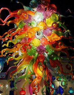 "Houshang glass art in a Santa Fe gallery called ""ARTiculate"". (See their webpage www.houshangart.com/index.php The gallery is on Don Gaspar Avenue in Santa Fe, New Mexico.)"