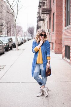 {How to Wear Denim on Denim   Simply Audree Kate}  patchwork denim jeans, denim on denim, mustard yellow sweater, cute fall outfit idea, snake skin booties