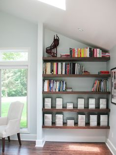 awesome floating wood shelves!