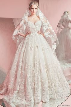 zuhair murad spring summer 2016 bridal strapless sweetheart neckline lace embroidery romantic white wedding ball gown dress with veil pam