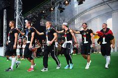 Manuel Neuer, Kevin Grosskreutz, Matthias Ginter, Julian Draxler, Shkodran Mustafi, and Bastian Scweinsteiger entering the stage @ Weltmeister party in Berlin