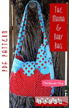 The Mama and Baby Bag Downloadable PDF Pattern Fishsticks Designs - Fat Quarter Shop