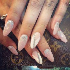 Pink ombré with geometric cuts   Nail Boutique @thehautespot   Websta (Webstagram) #gelnails #glitternailart #nudeglitter