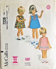 Vintage Child/Toddler Sewing Pattern McCalls by TheVintagePatterns, $6.00