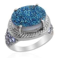 Liquidation Channel:  Caribbean Blue Drusy Quartz and Tanzanite Ring in Platinum Overlay Sterling Silver (Nickel Free)