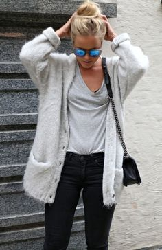 Light Gray Tank, Dark Skinnies, Fuzzy Loose Cardi, Over-the-shoulder Purse, Sunglasses, Bun