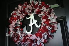 Alabama Rag Wreath with Metal Script A Logo.
