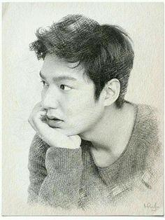 Her sketch of him. Lee Min Ho, Lee And Me, Cartoon Drawings, Kpop Drawings, Ha Ji Won, Seo Kang Joon, Jung Yong Hwa, Kim Woo Bin, Korean Star