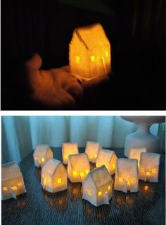 Mini house luminaries - cut out felt shape, iron, stitch, paint with glue sealant, let dry and add a battery operated tea light! pretty simple!