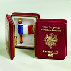Limoges French Passport with France Flag Box, Each. The Cottage Shop