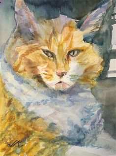 "Daily+Paintworks+-+""Cat+Behind+Glass""+-+Original+Fine+Art+for+Sale+-+©+jean+krueger"
