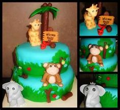 Jungle Theme Baby Shower Cake  @Anna McDonald. For Doed. Is this the one you pinned?