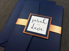Navy and Copper Wedding Invitations Calligraphy by KimKimDesigns