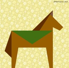 """Horse 5""""x5"""" paper pieced quilt pattern by ProtoQuilt. Celebrate the year of Horse!"""