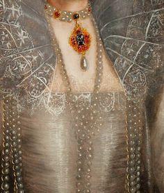 Marcus Gheeraerts the Younger. Detail from Portrait of Queen Elizabeth, 1595.  #ElizabethI #MarcusGheeraerts #VonGiesbrechtJewels