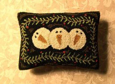 Primitive Needle Punch Pillow PATTERN 3 Snowmen by thetalkingcrow, $8.00