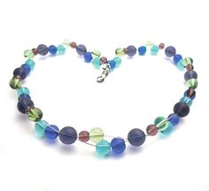 SALE sea colors necklace purple blue green transparent door deBATjes