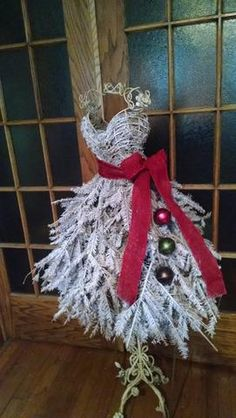 Custom Made Flocked Wire Dress Form Christmas Tree: LOCAL CHICAGO AREA ONLY
