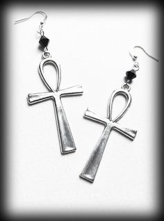 Gothic Ankh Earrings Egyptian Wicca Pagan Jet Crystals Alternative Jewelry Silver Handmade Gift For Her