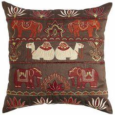 Embroidered Safari Animals Pillow