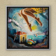 Swinging free of worries as our lives should be. Dreamland can give you that! Oil on canvas. Oil On Canvas, Canvas Wall Art, Night Skies, Childhood Memories, Fairy Tales, This Is Us, Symbols, Paintings, Sky
