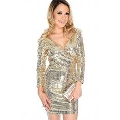 sexy Gold Sequins Long Sleeve V-Cut Party Dress