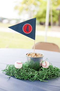center piece for baseball party. add a couple Cracker Jack boxes. Sports Themed Birthday Party, Sports Party, First Birthday Parties, First Birthdays, Theme Parties, Birthday Ideas, Fall Birthday, Vintage Baseball Party, Baseball Table