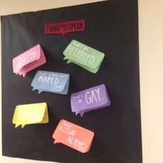 """Words Have Power"" Dardick 1 RA passive program/bulletin board on black. Great for diversity & inclusion focus area! Ra Passive Programs, Leadership Programs, Diversity Bulletin Board, Classroom Bulletin Boards, Resident Assistant Programs, Ra Programming, Ra Bulletins, Ra Boards"