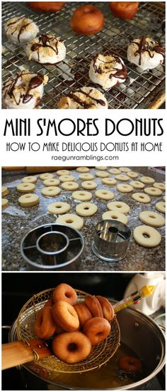 S'mores Mini Donut Recipe the best mini donut recipe I've found super easy and tasty for dessert or breakfast Best Mini Donut Recipe, Mini Donut Recipes, Easy Donut Recipe, Gourmet Donut Recipe, Mini Desserts, Desserts To Make, Halloween Desserts, Dessert Recipes, Famous Desserts