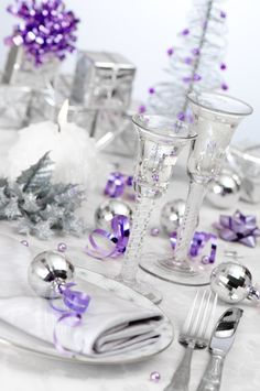 shiny silver & purple..bright table