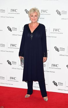 The colour purple: Veteran actress Julie Walters added a flash of colour