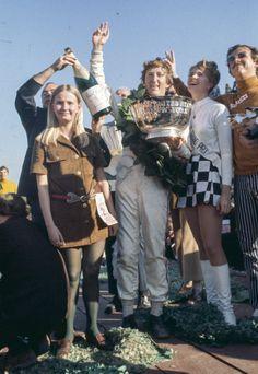 Race winner Jochen Rindt celebrates on the podium. US GP '69