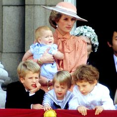 Diana holding baby Harry, William and his cousins, Peter Phillips (left) and